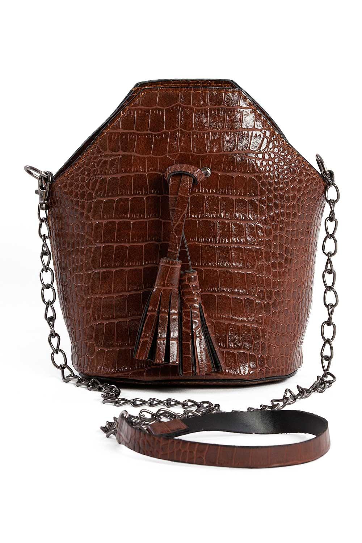 MIZALLE شرابة مفصلة ، مسامية ، حقيبة يد نسائية (براون) (1)