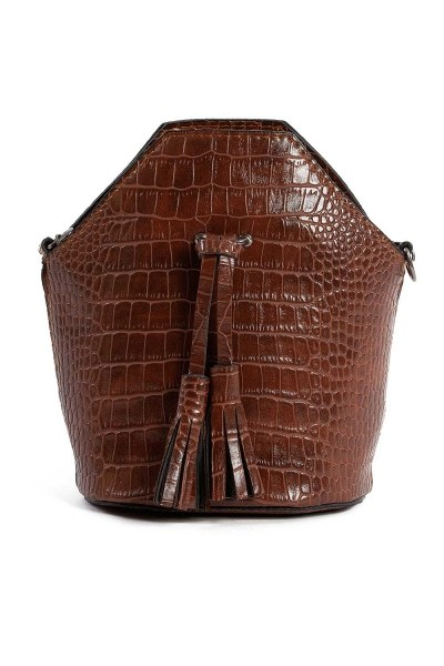 Tassel Detailed Women Handbag (Brown) - Thumbnail