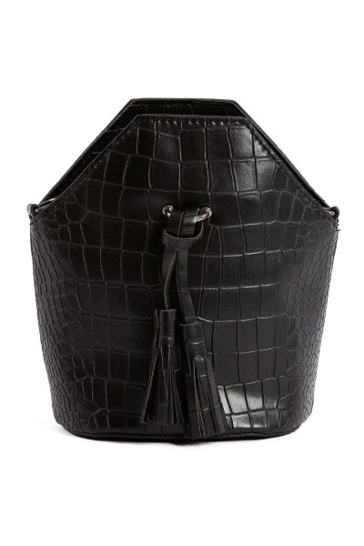 شرابة مفصلة ، مسامية ، حقيبة يد نسائية (أسود) - Thumbnail
