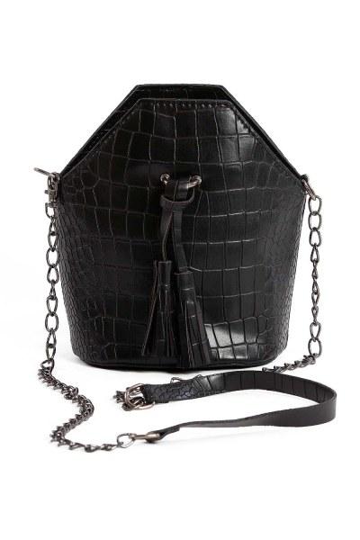 MIZALLE - شرابة مفصلة ، مسامية ، حقيبة يد نسائية (أسود) (1)