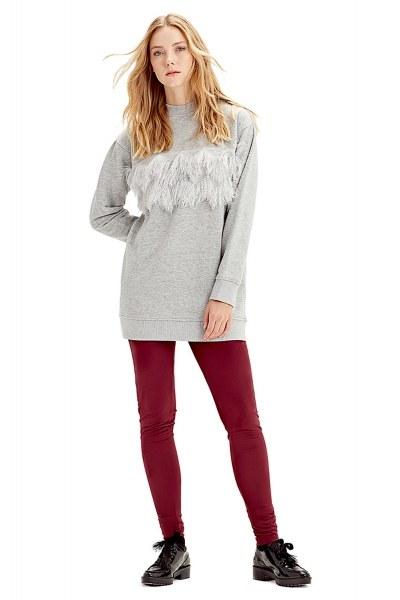 Püskül Detaylı Sweatshirt (Gri) - Thumbnail