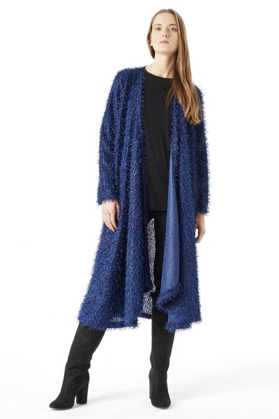 MIZALLE Tasseled Long Luxury Cardigan (Dark Blue)
