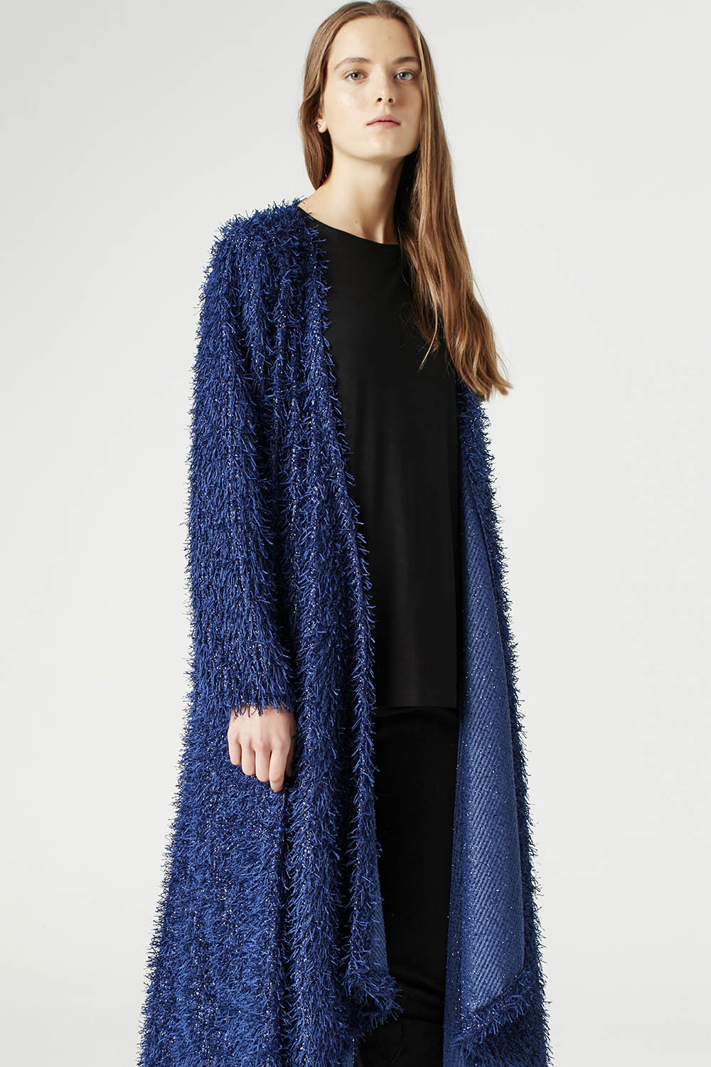 MIZALLE Tasseled Long Luxury Cardigan (Navy Blue) (1)