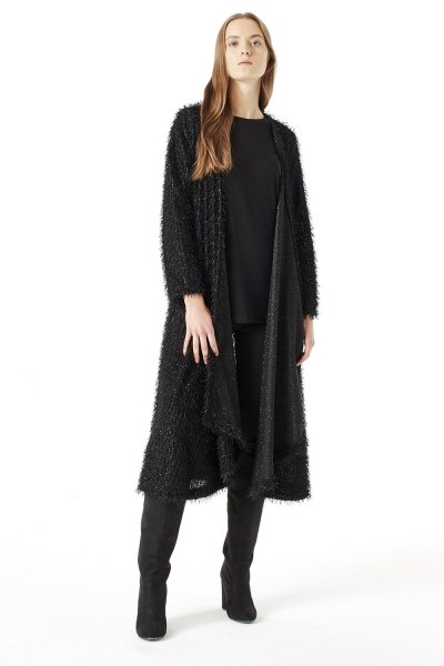 Tasseled Long Luxury Cardigan (Black) - Thumbnail