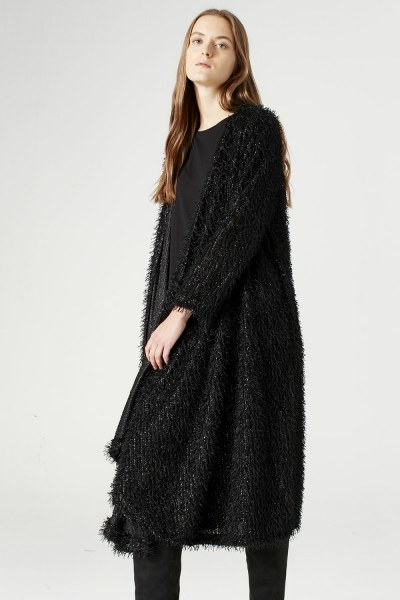 MIZALLE - Tasseled Long Luxury Cardigan (Black) (1)
