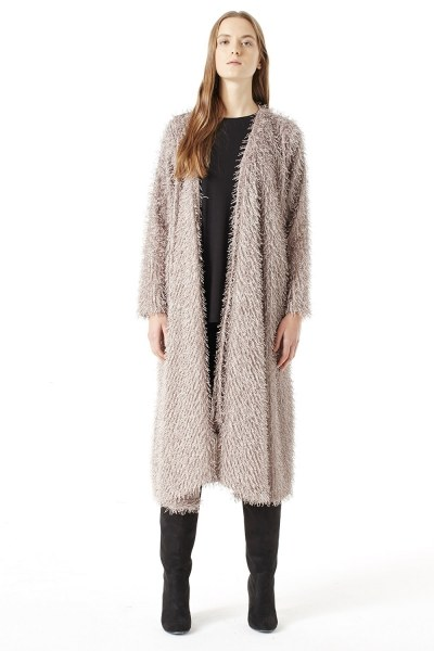 MIZALLE Tasseled Long Luxury Cardigan (Mink Color)
