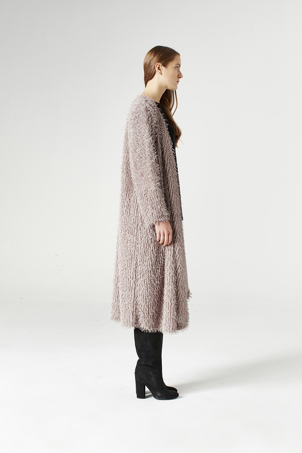 MIZALLE Tasseled Long Luxury Cardigan (Mink) (1)