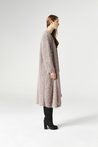 MIZALLE - Tasseled Long Luxury Cardigan (Mink) (1)
