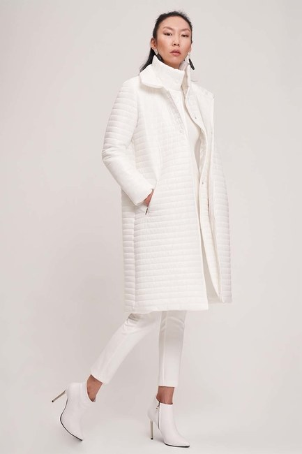 MIZALLE - معطف مبطن بياقة مزدوجة (أبيض) (1)