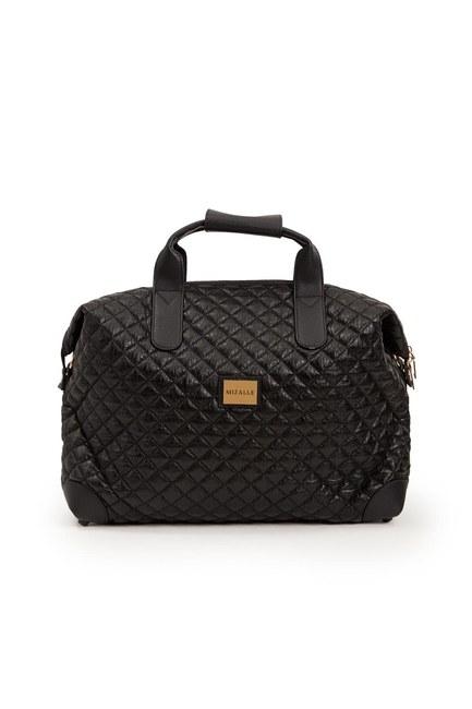 MIZALLE - حقيبة كتف كبيرة مبطنة (أسود) (1)