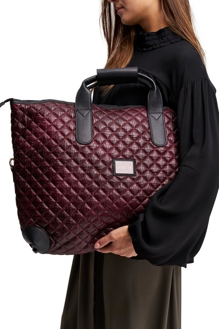 Mizalle - Quilted Large Shoulder Bag (Claret Red) (1)