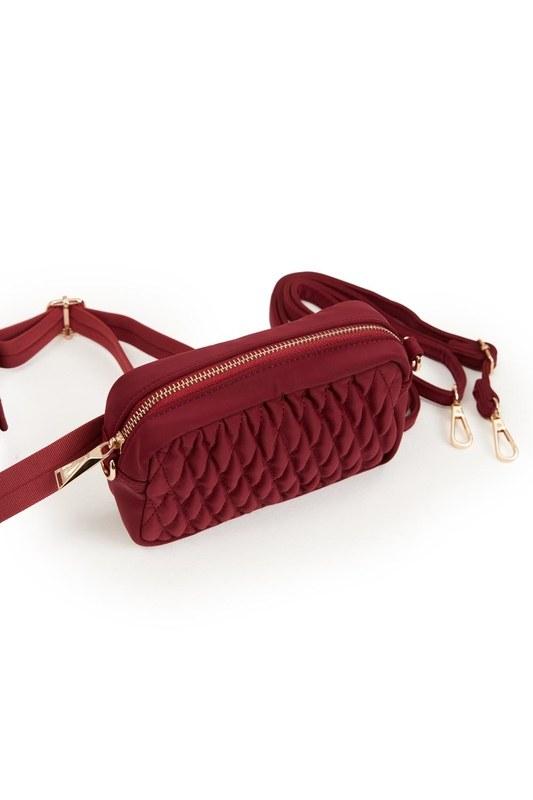 حقيبة كتف وخصر مبطنة (أحمر)