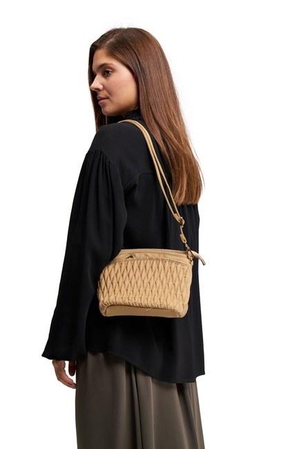 Quilted Shoulder Bag (Beige) - Thumbnail