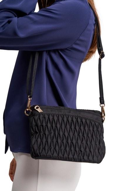 MIZALLE - حقيبة كتف مبطن (أسود) (1)