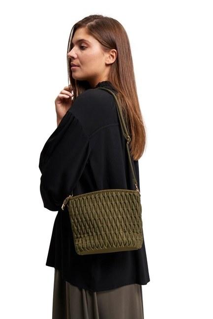 MIZALLE Quilted Shoulder Bag (Khaki)