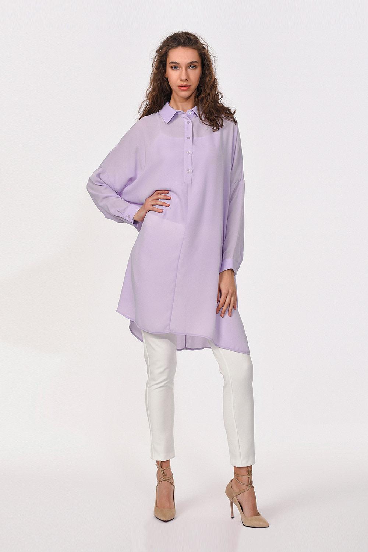 Kalıp Uzun Lila Tunik Gömlek