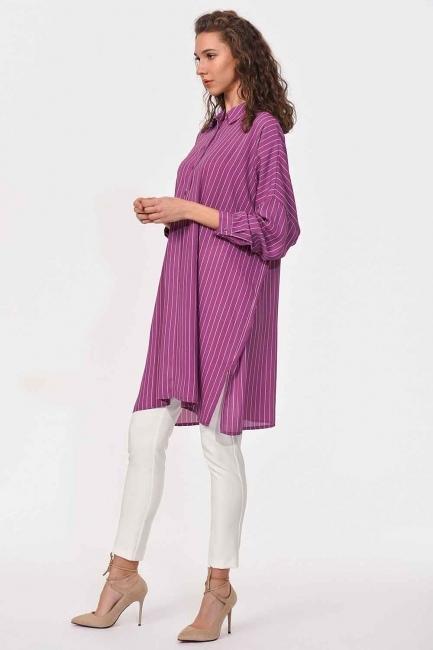 Comfy Long Tunic Shirt (Purple) - Thumbnail