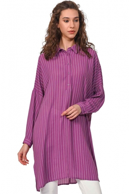 MIZALLE Rahat Kalıp Uzun Tunik Gömlek (Mor)