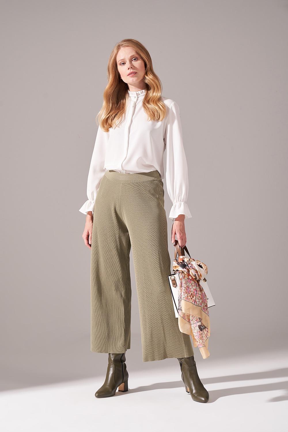Rayon Basic Triko Pantolon (Haki)