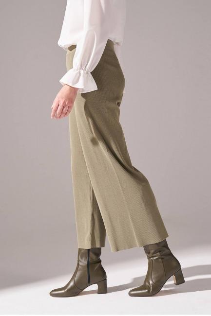 Rayon Basic Triko Pantolon (Haki) - Thumbnail