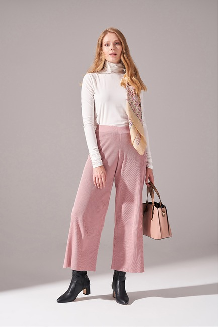 Mizalle - Rayon Basic Triko Pantolon (Pudra)