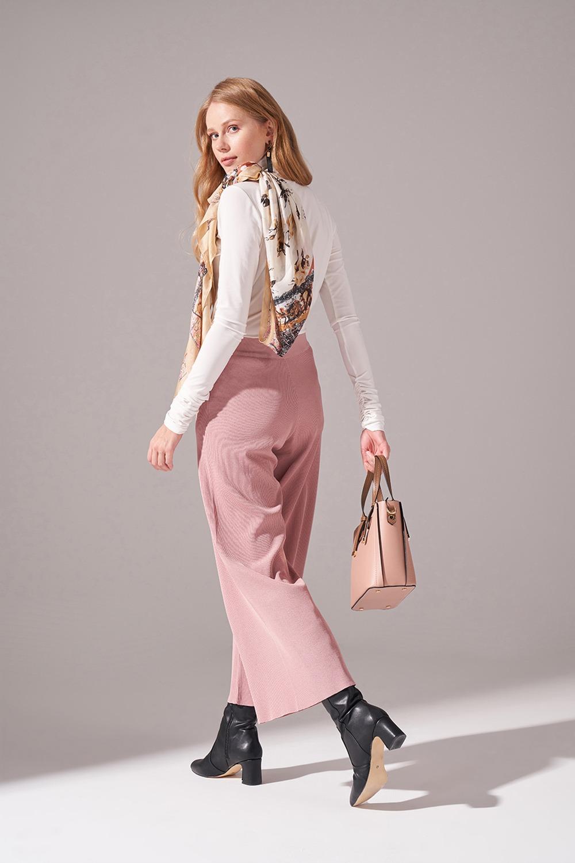 Rayon Basic Triko Pantolon (Pudra)