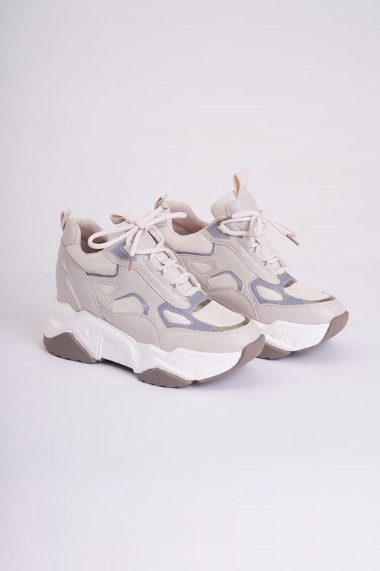 Reflektörlü Spor Ayakkabı (Bej)