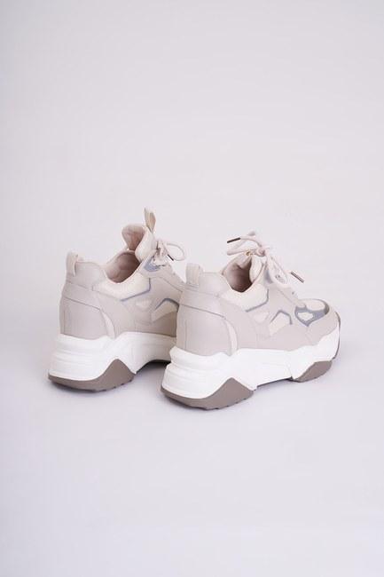MIZALLE - Reflektörlü Spor Ayakkabı (Bej) (1)