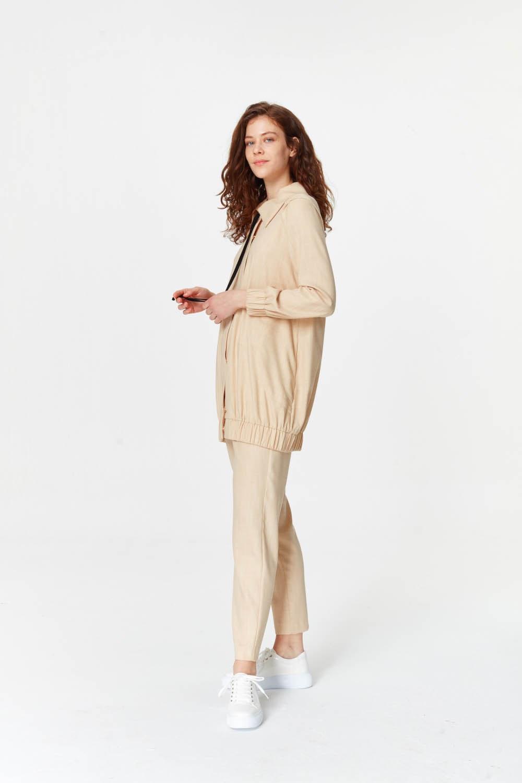 MIZALLE Regular Yaka Ceket (Bej) (1)