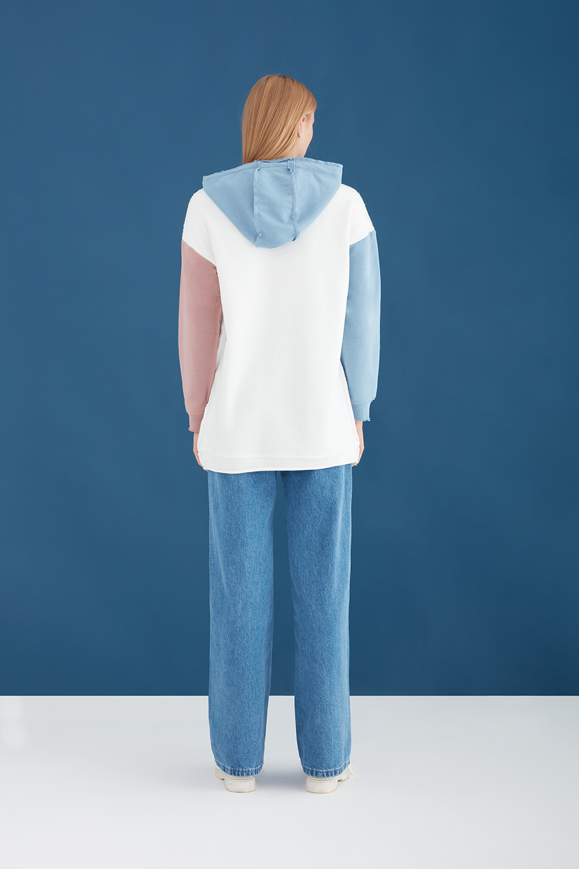 Renk Bloklu Ekru Oversize Sweatshirt