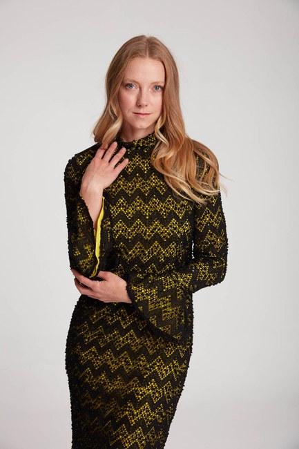Mizalle - Renk Detaylı Dantel Elbise (F.Yeşil)