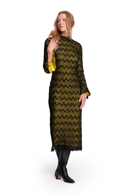 MIZALLE Renk Detaylı Dantel Elbise (F.Yeşil)