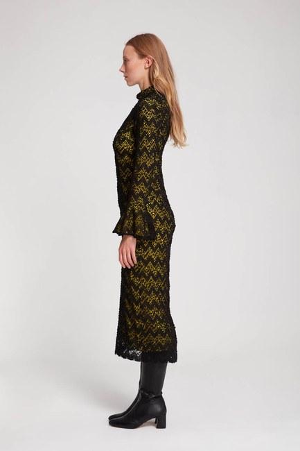 MIZALLE - Renk Detaylı Dantel Elbise (F.Yeşil) (1)