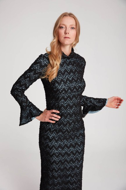 Mizalle - Renk Detaylı Dantel Elbise (Mavi)