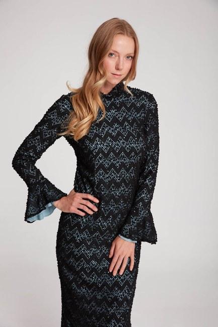 MIZALLE - لون فستان الدانتيل مفصل (الأزرق (1)