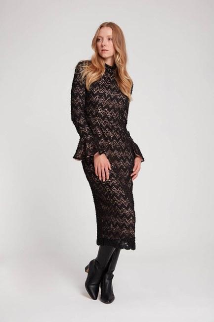 Mizalle - Renk Detaylı Dantel Elbise (Pembe)