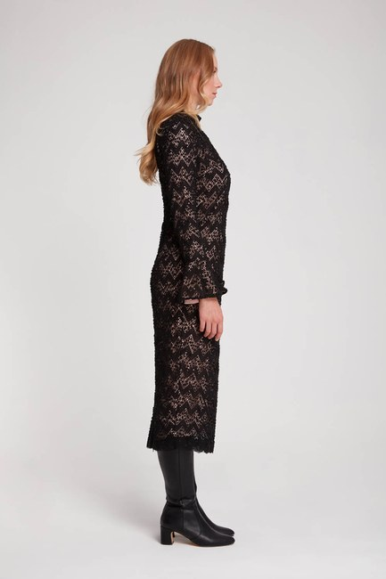 Renk Detaylı Dantel Elbise (Pembe) - Thumbnail