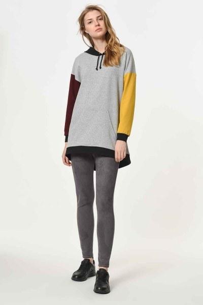 Color Piece Hooded Sweatshirt (Mix) - Thumbnail