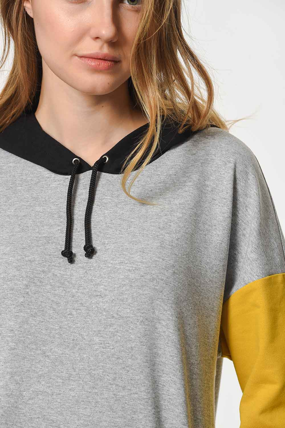 MIZALLE Color Piece Hooded Sweatshirt (Mix) (1)