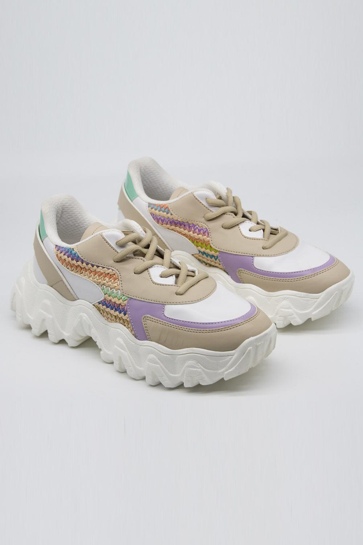 Lila-Bej Renk Parçalı Spor Ayakkabı