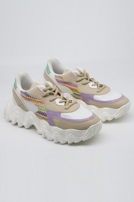 Mizalle - Lila-Bej Renk Parçalı Spor Ayakkabı