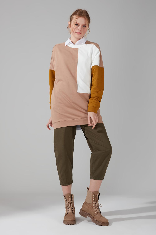 Mizalle - Renk Parçalı Sweatshirt (Bej)