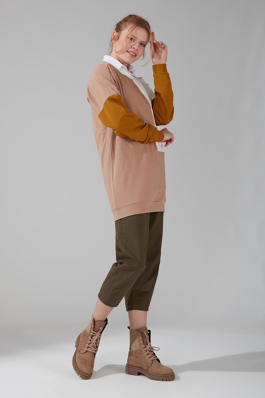Renk Parçalı Bej Sweatshirt - Thumbnail
