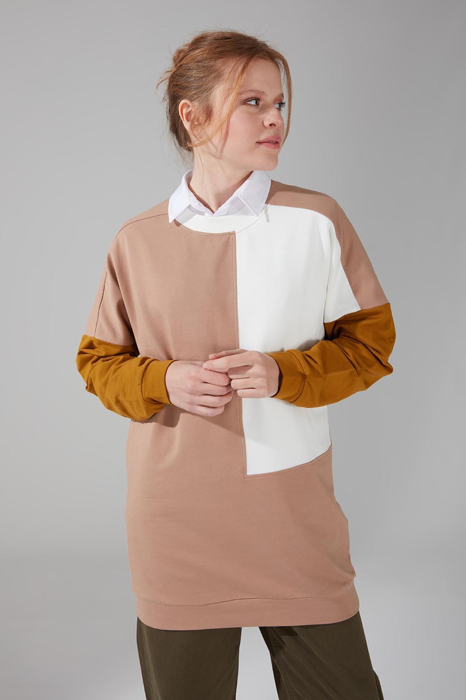 Renk Parçalı Bej Sweatshirt