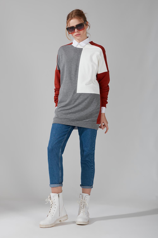 Mizalle - Renk Parçalı Sweatshirt (Gri)