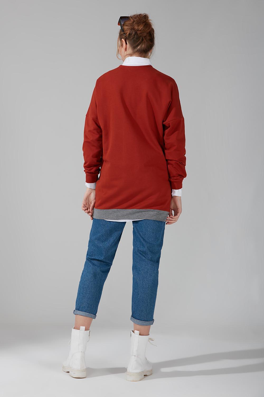 Renk Parçalı Sweatshirt (Gri) - Thumbnail