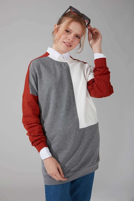 Renk Parçalı Gri Sweatshirt