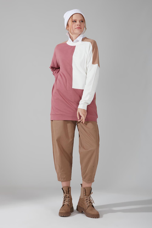 Mizalle - Renk Parçalı Sweatshirt (Gül Kurusu)