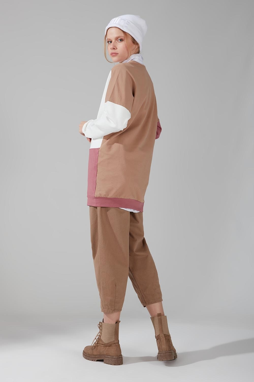 Renk Parçalı Gül Kurusu Sweatshirt