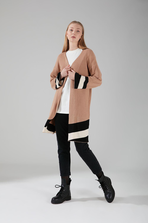 Mizalle - Renk Parçalı Triko Hırka (Camel)